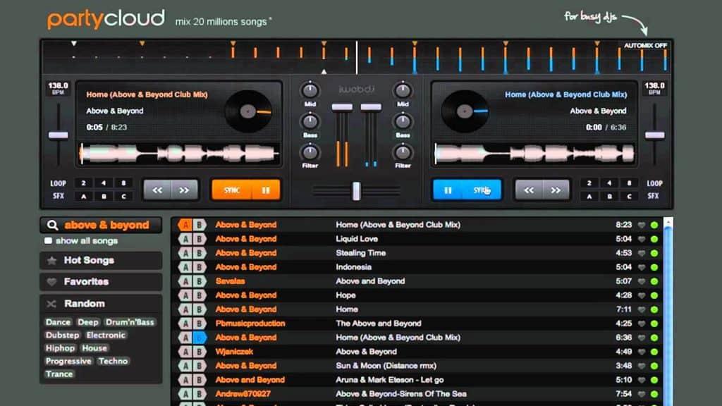 Free DJ Software Partycloud Online